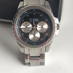 Fossil multi-dial stainless steel watch with box